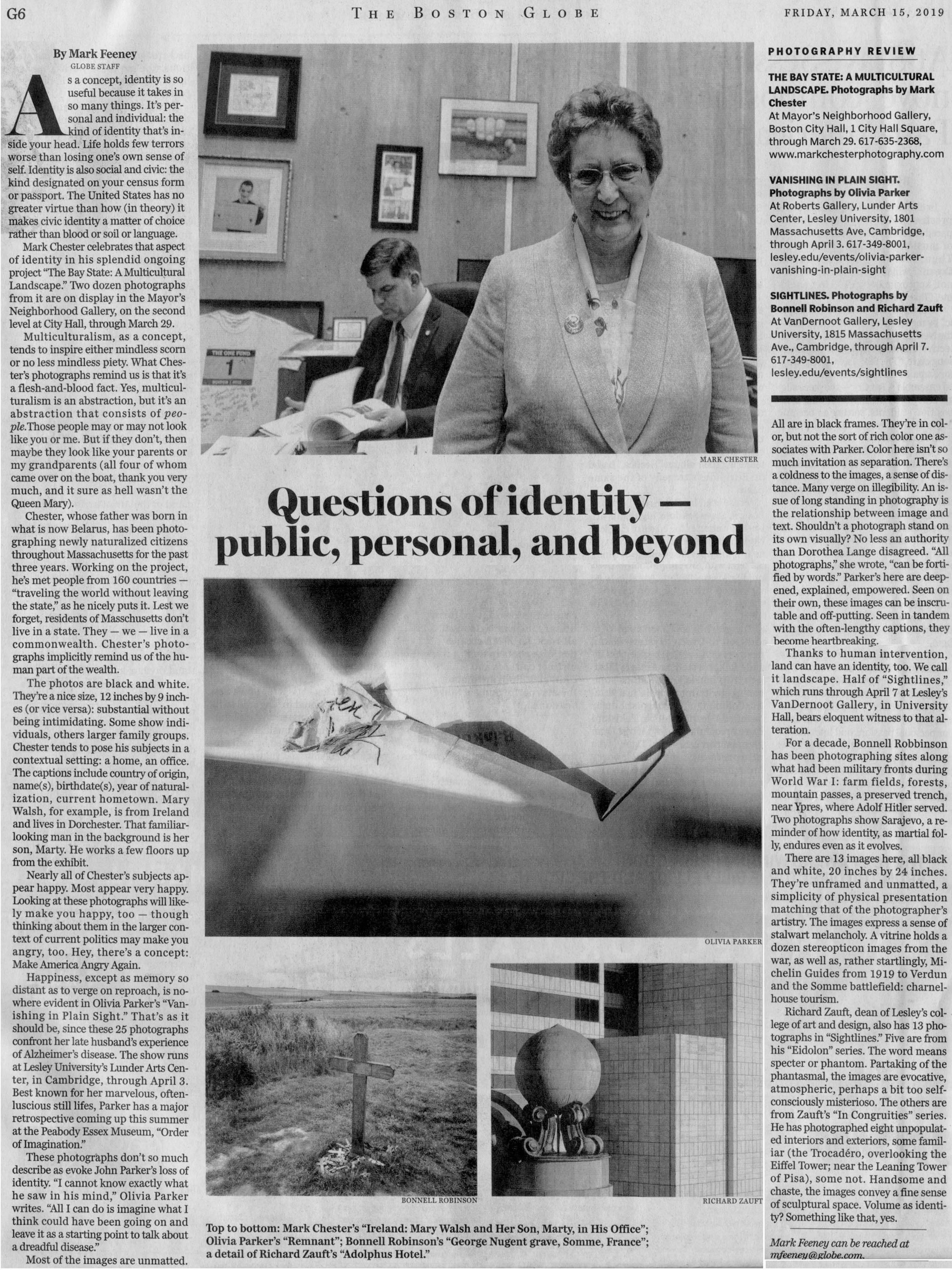 "Boston Globe  Art: PHOTOGRAPHY REVIEW  Questions of identity — public, personal, and beyond By    Mark Feeney     GLOBE STAFF  MARCH 14, 2019. Photograph:  Mark Chester's ""Ireland: Mary Walsh and Her Son, Marty, in His Office"""