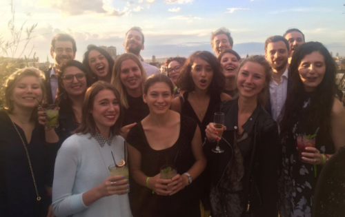 My Withings Marketing team, US and France, celebrating the acquisition on a roof top in Paris.