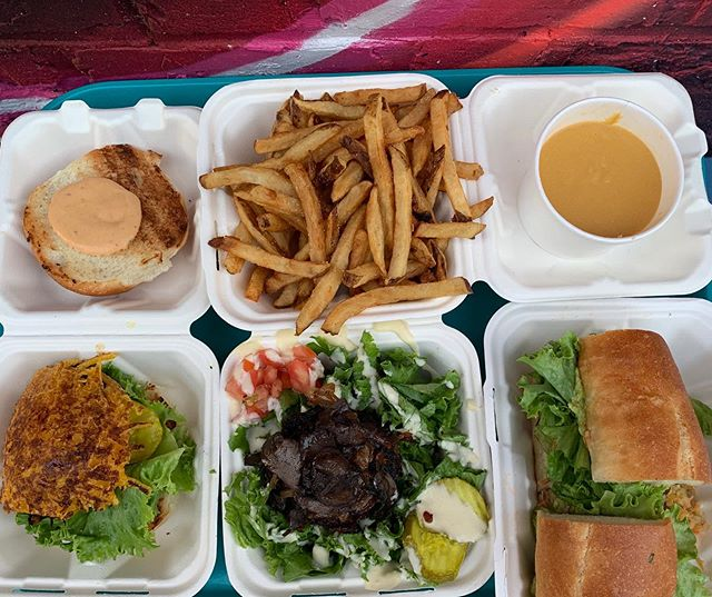 Definition of a lucky tray day in 2019.  A tray filled to the brim with 🍔🍟🥗🥪 from #chickpeaandolive 📷 by @chefdan84  Open til 9 @wholefoods WBG @Smorgasburg tomorrow 11-6 Delivery on @grubhub @seamless @caviar @postmates