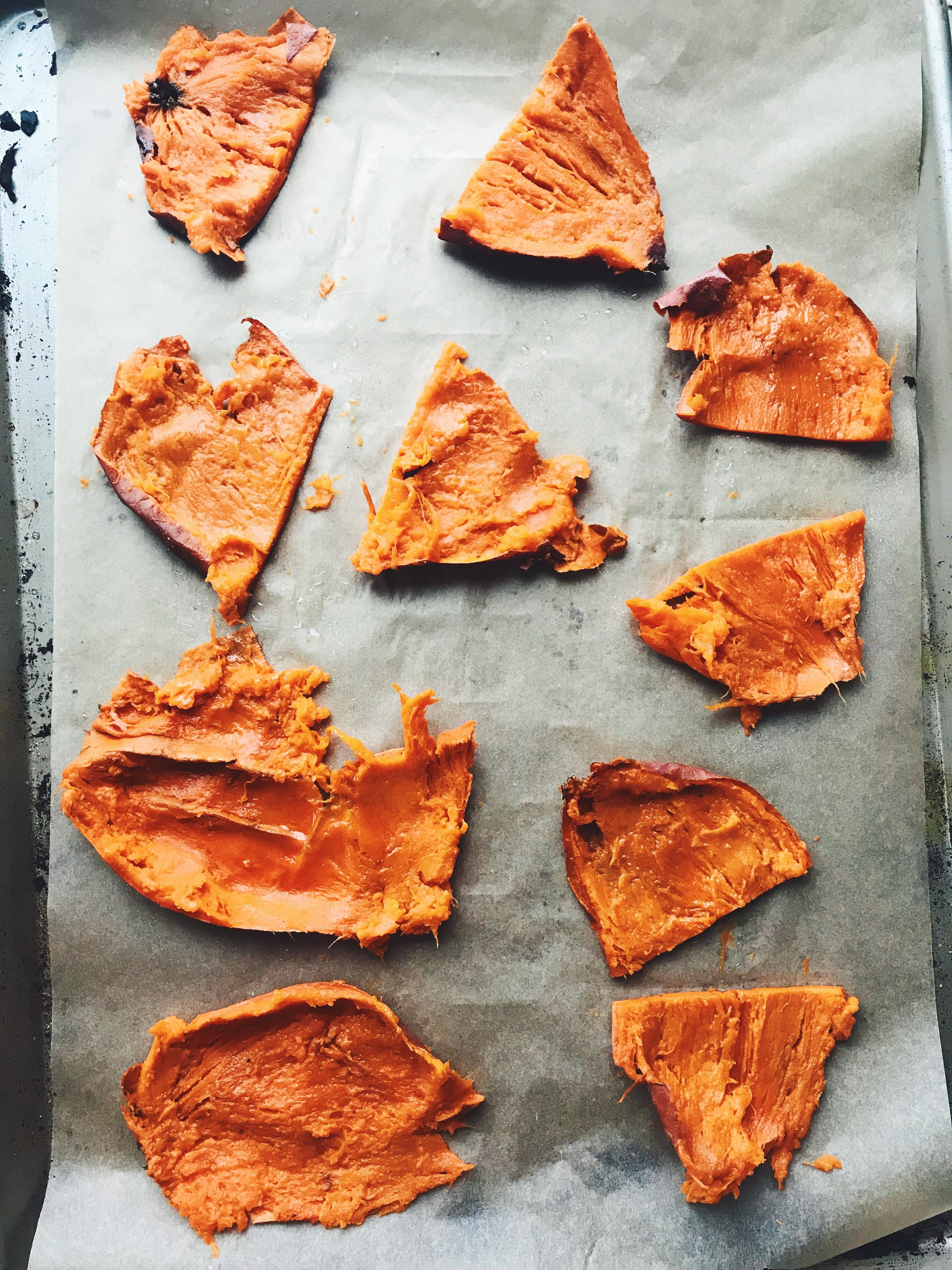 the sweet potato skins BEFORE they have been placed in the oven under the broiler.