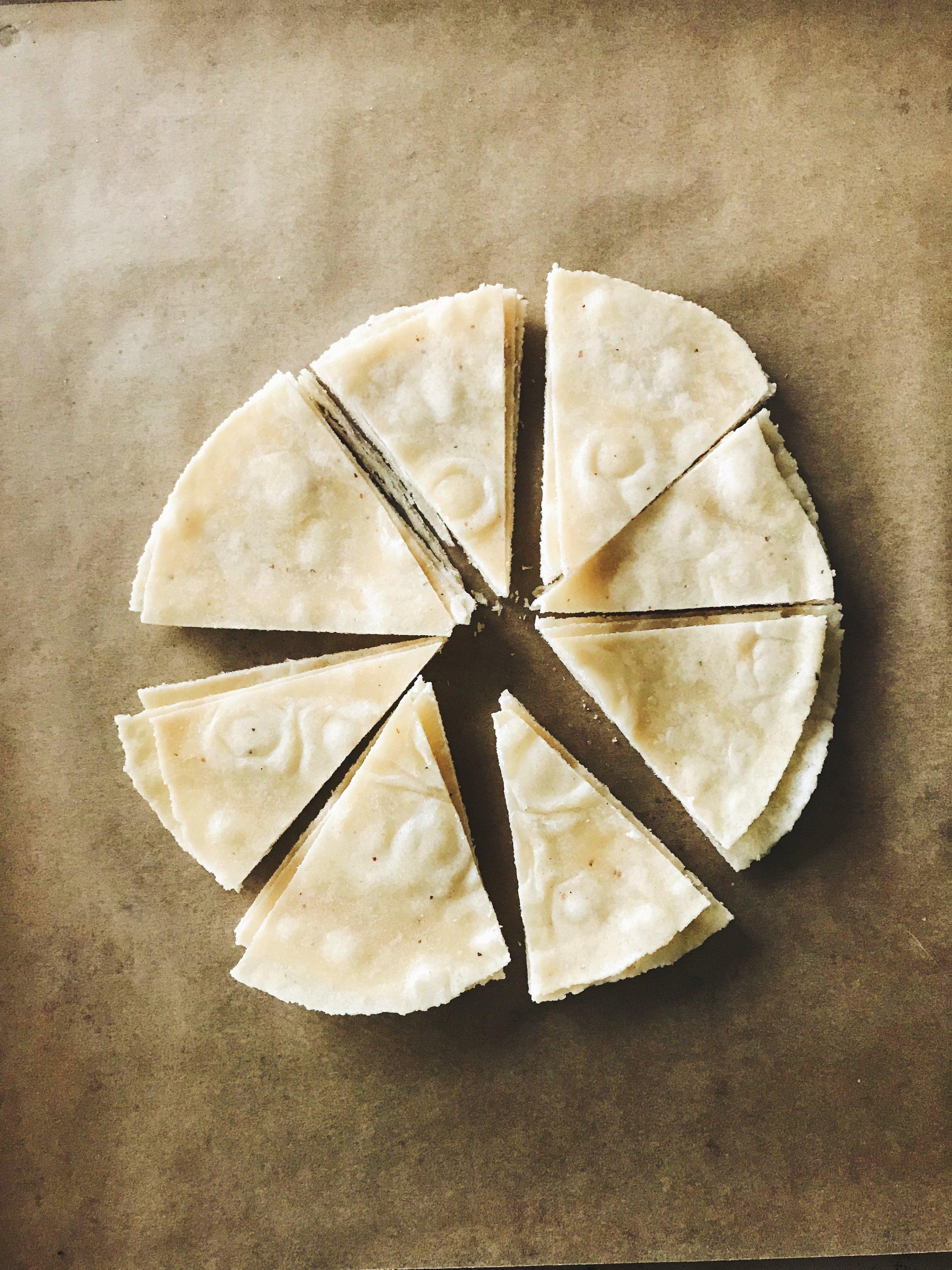 Tortillas, pre-oven, cut into triangles!