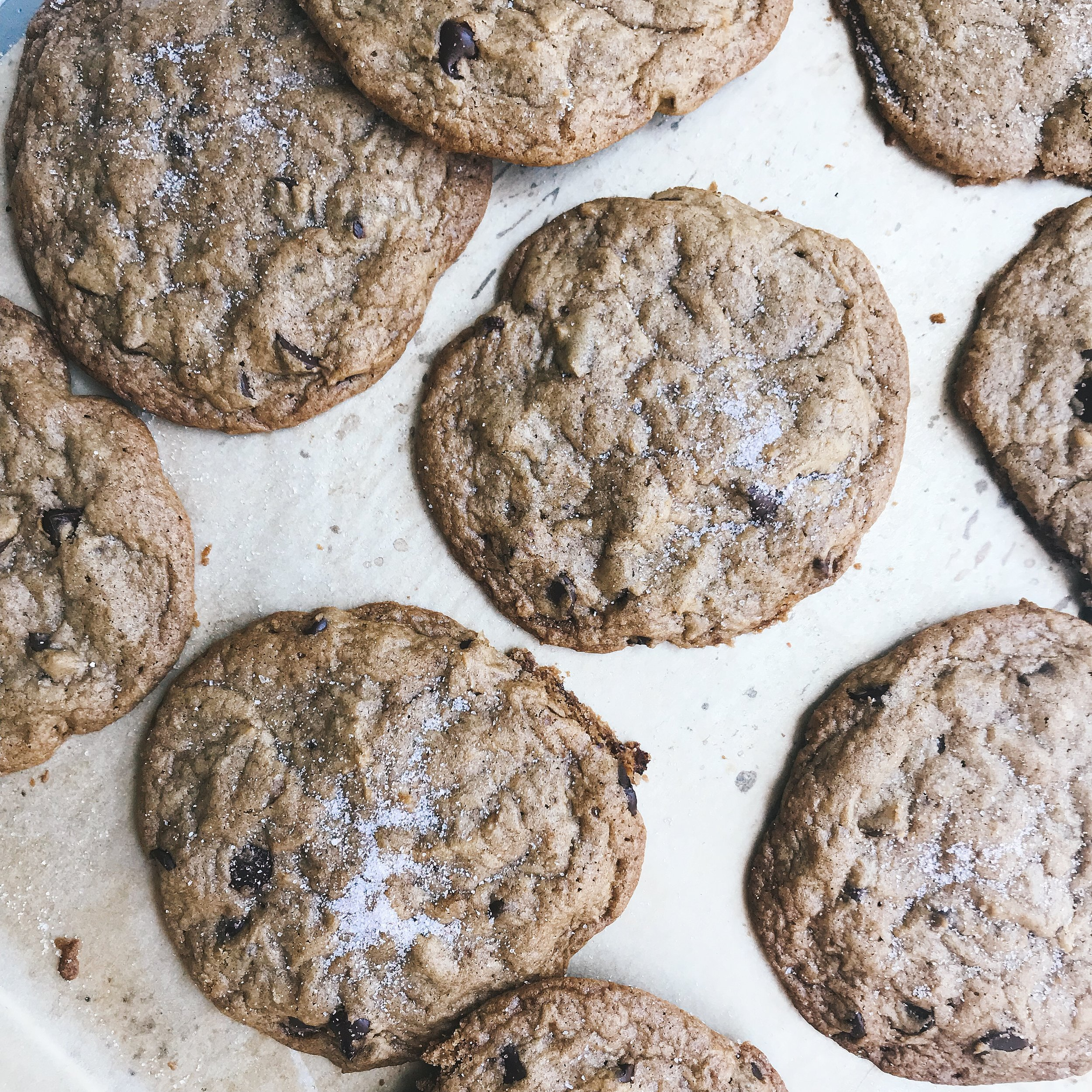 Crunchy dark chocolate cookies sprinkled with sea salt!