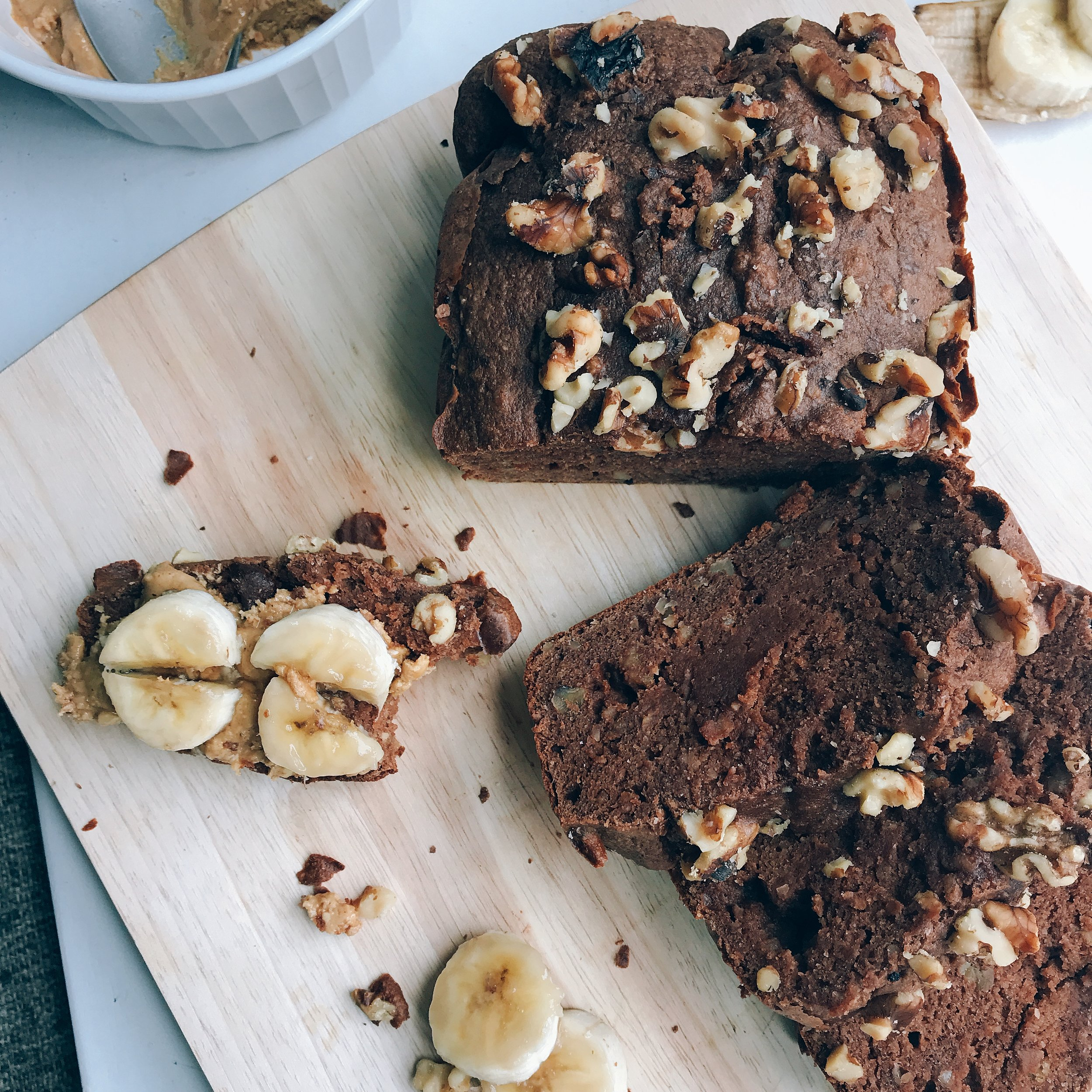 a hearty chocolate peanut butter banana bread for breakfast or snacking! Completely dairy free and gluten free, but super light and moist!