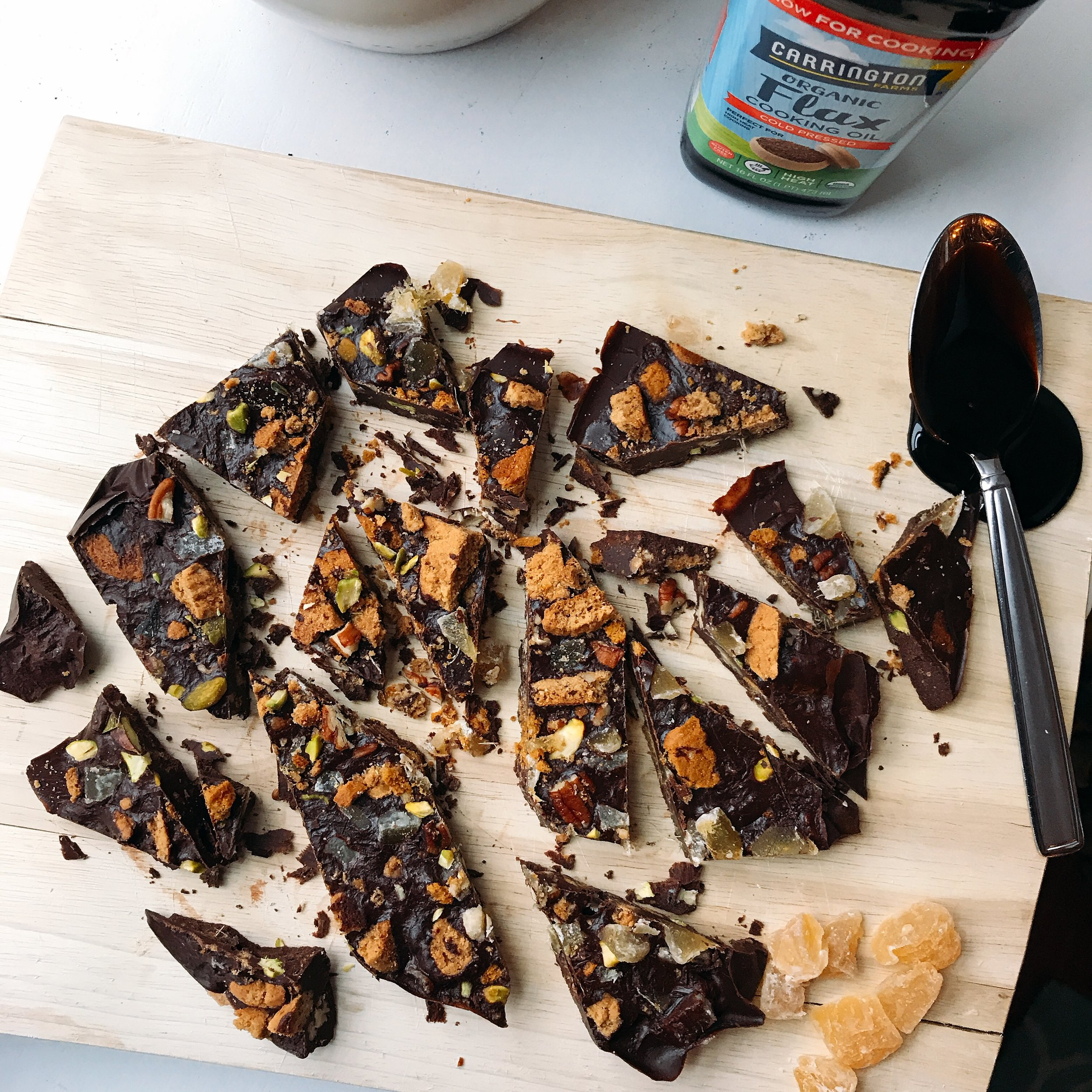 The perfect holiday bark that is simple to make, crunchy, chocolate-y, and full of holiday flavors; ginger, cinnamon, molasses, and vanilla! It is completely dairy free!