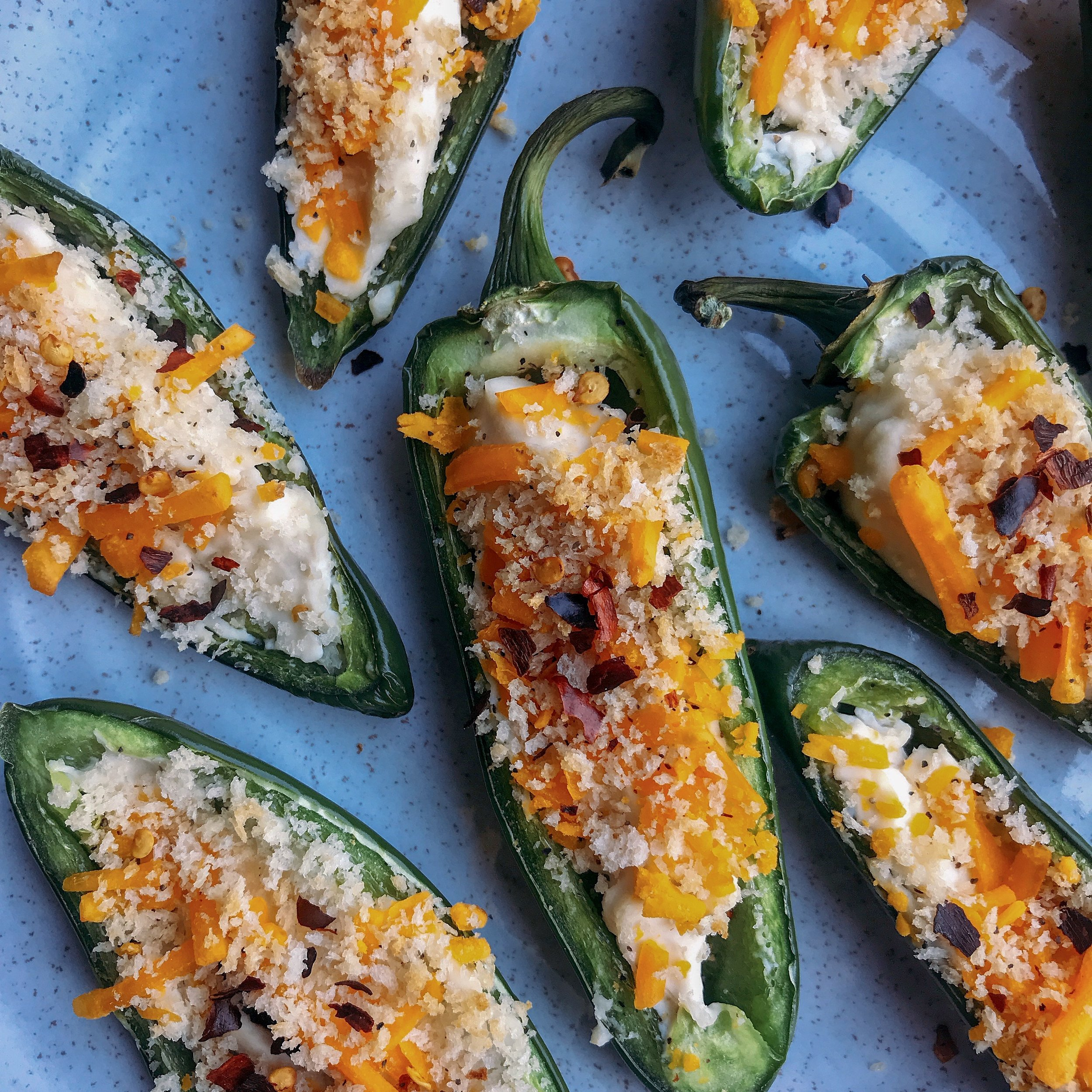 Dairy-free crunchy baked jalapeños for an afternoon snack or appetizer!