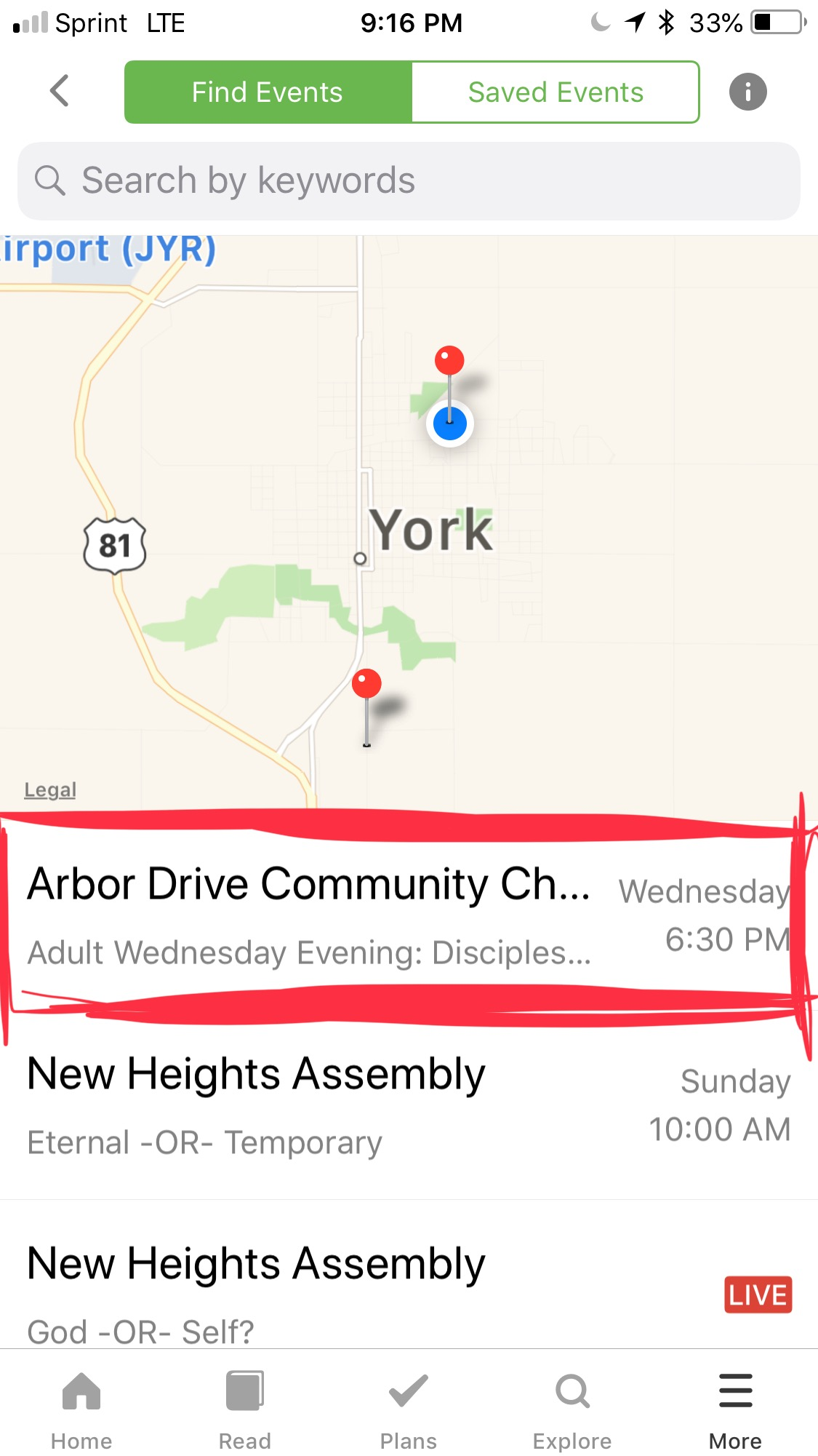 Click on the event - Arbor Drive Community Church