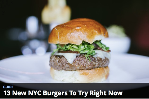 """Virginia's burger named one of the """"13 NYC Burgers to try right now"""" by The Infatuation NYC."""