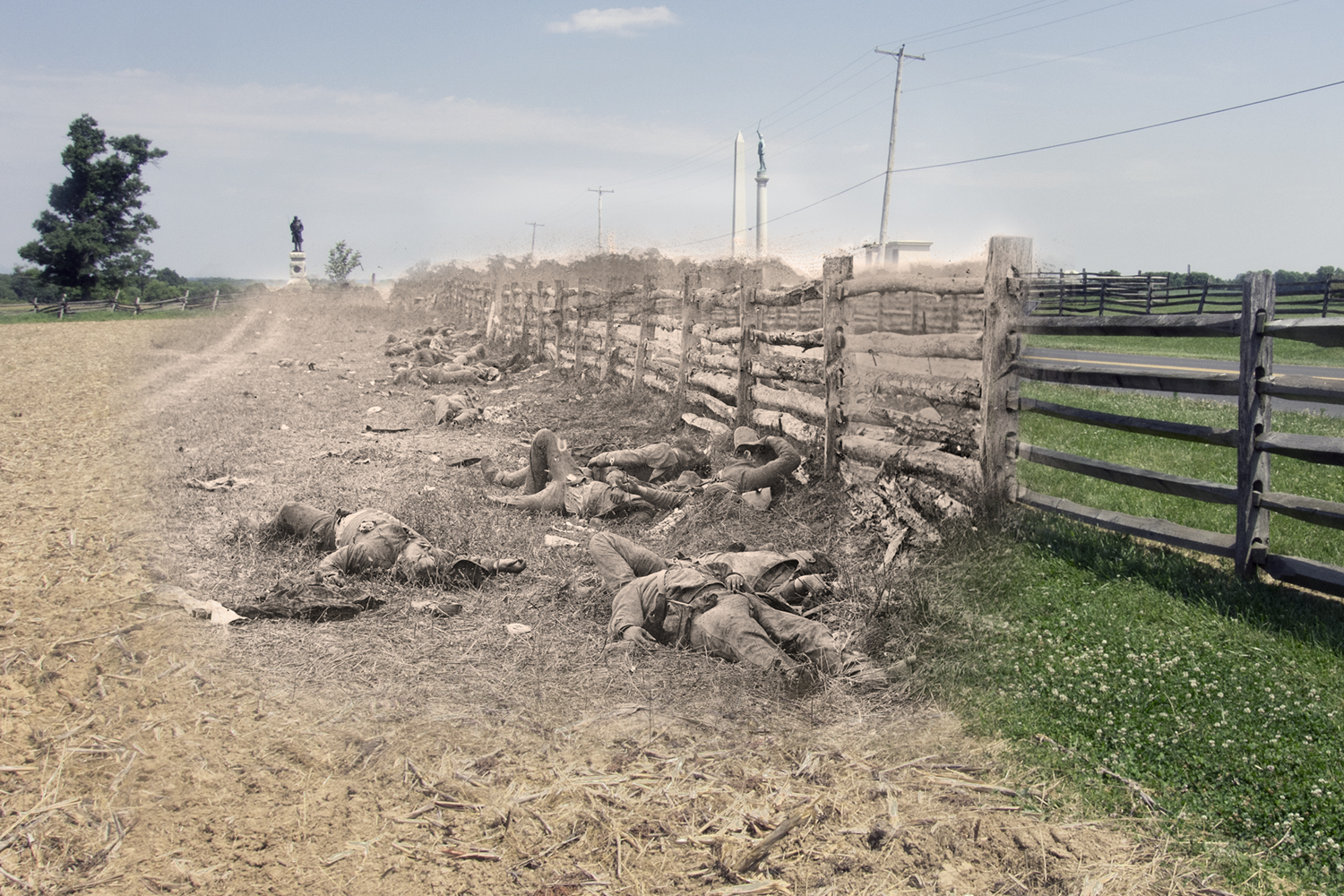 Confederate Dead Along the Hagerstown Pike Antietam National Battlefield Then and Now