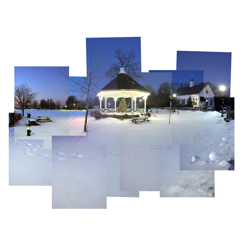 Town gazebo in winter