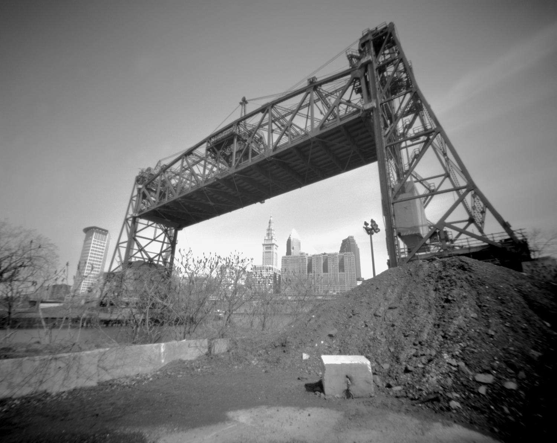 Cleveland skyline and lift bridge