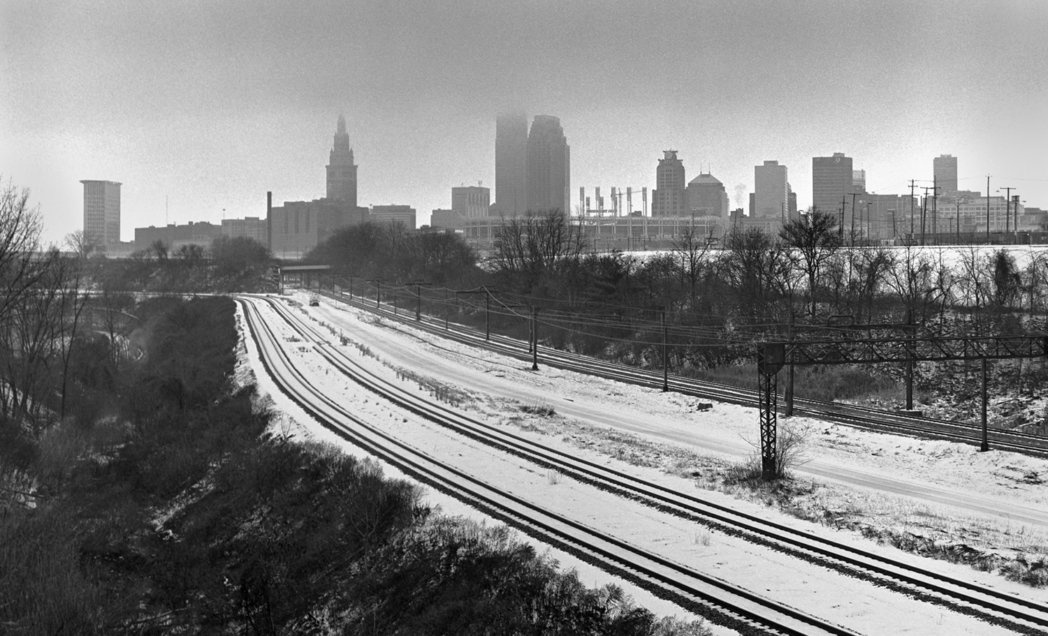 Skyline and Rails Cleveland, OH 6x6 BW film