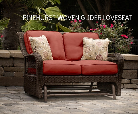 Pinehurst Loveseat Glider w 2 Pillows.jpg