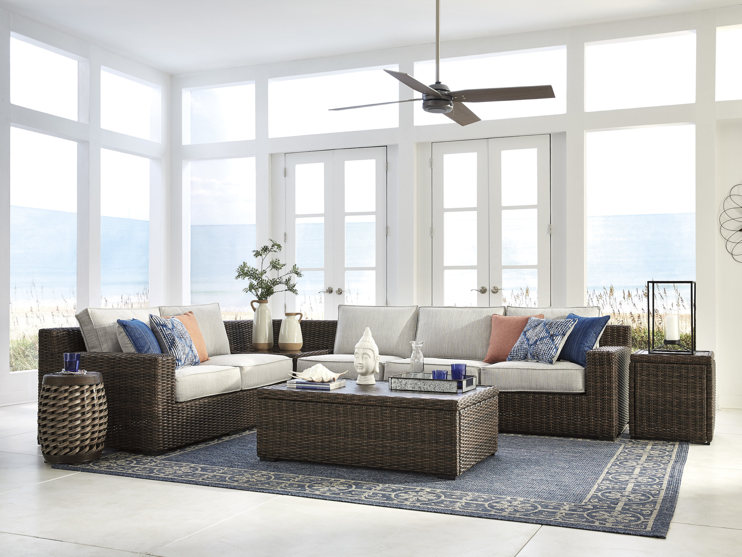 Alta Grand Four Piece Sectional with 6 Pillows