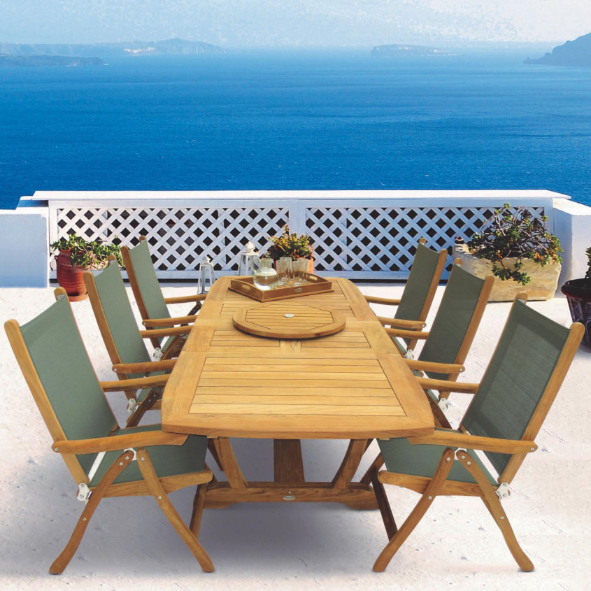 FLORIDA COMPASS SLING AND TEAK DINING
