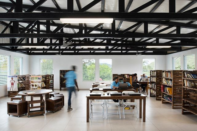 The main reading space at Haiti Project's Fond de Blancs Library.
