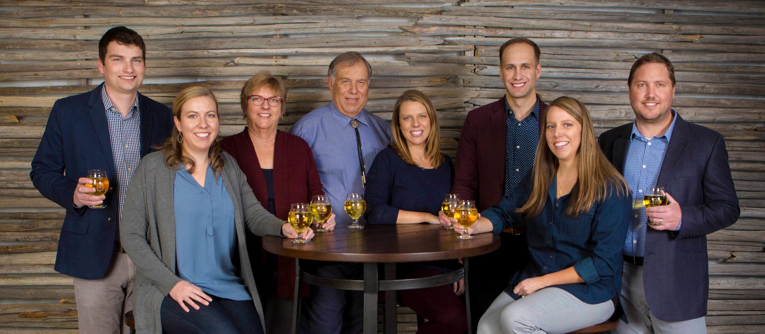 Left to right: James Caddey, Anna Koenig Caddey, Cheryl Koenig, Jim Koenig, Emily Koenig McLean, Nick McLean, Kate Koenig Howard, and Jesse Howard.