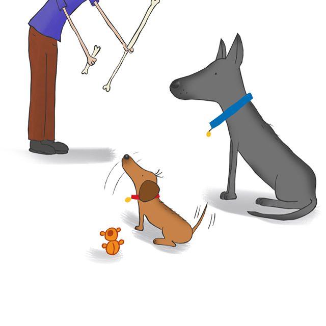 Sketch 1 and 2: Lunchtime #sketchesoninstagram #sketch #illustration #sketchbook #petsofinstagram #pets #doxie #dachshund #germanshepherd #kidsbooks #cutepets #dogs #dogsofinstagram #art