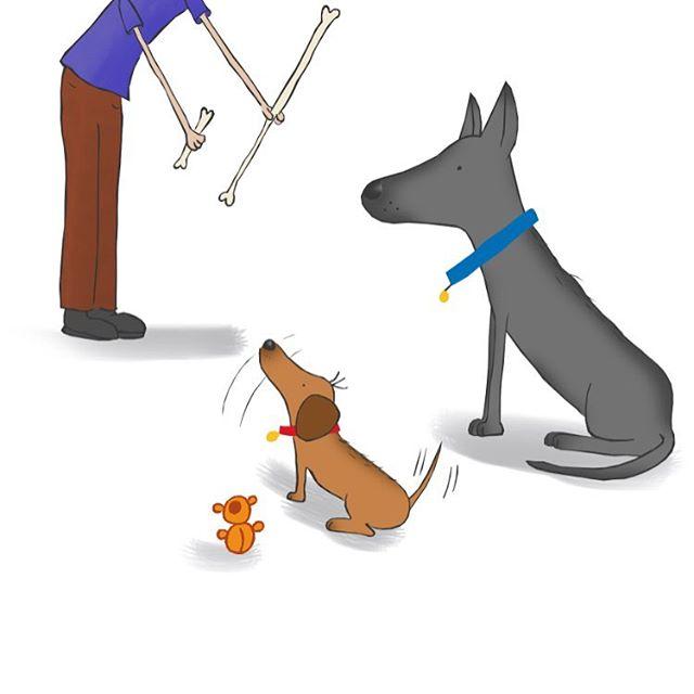 Sketch 1: Lunchtime. #sketchesoninstagram #petstagram #dachshund #drawing #sketchbook #germanshepherd #doxie #pets #illustration #sketch #kidsbooks #cutepets #dogs #dogsofinstagram