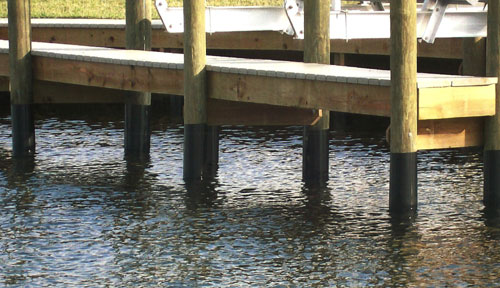 wood dock piling protection hdpe wrap