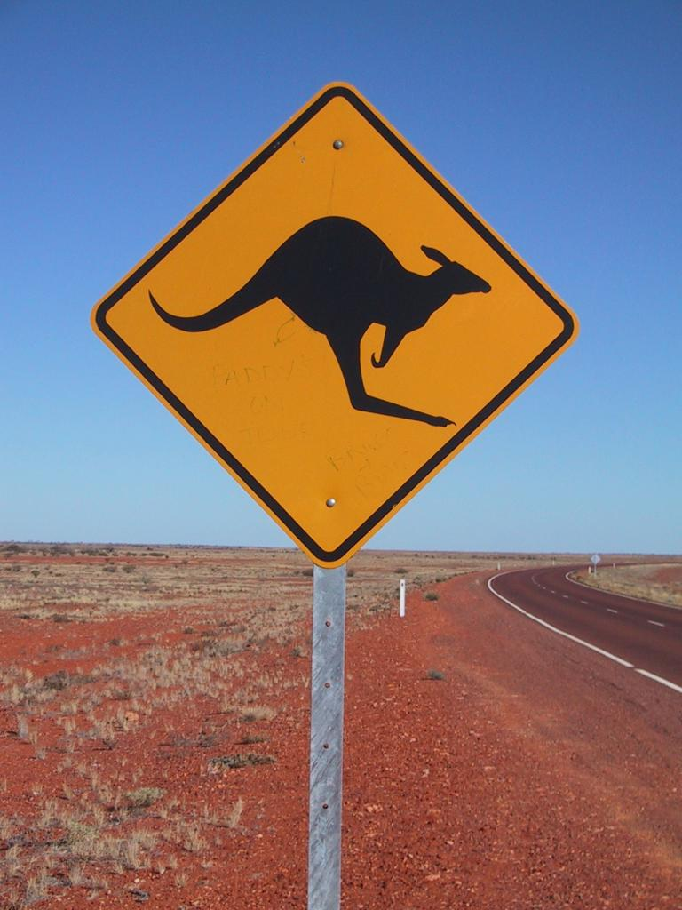 """""""Kangaroo Sign at Stuart Highway"""" by Jpp - Made by Jpp. Licensed under CC BY-SA 3.0 via Wikimedia Commons -  Link"""