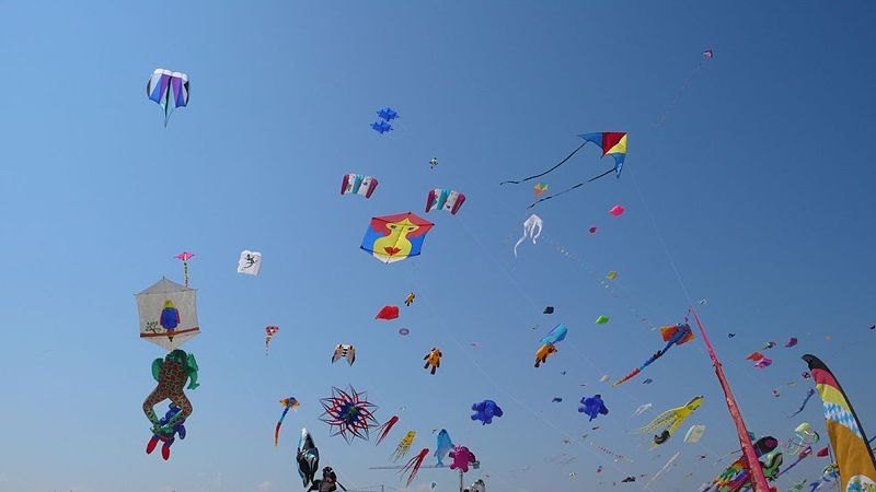 Sky full of kites in Cervia, Italy in 2007. (Photo courtesy of Wikipedia Commons.)