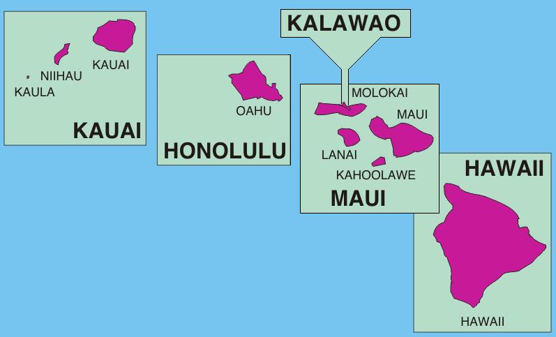 The Hawaiian Islands. Photocourtesy of Wikipedia.