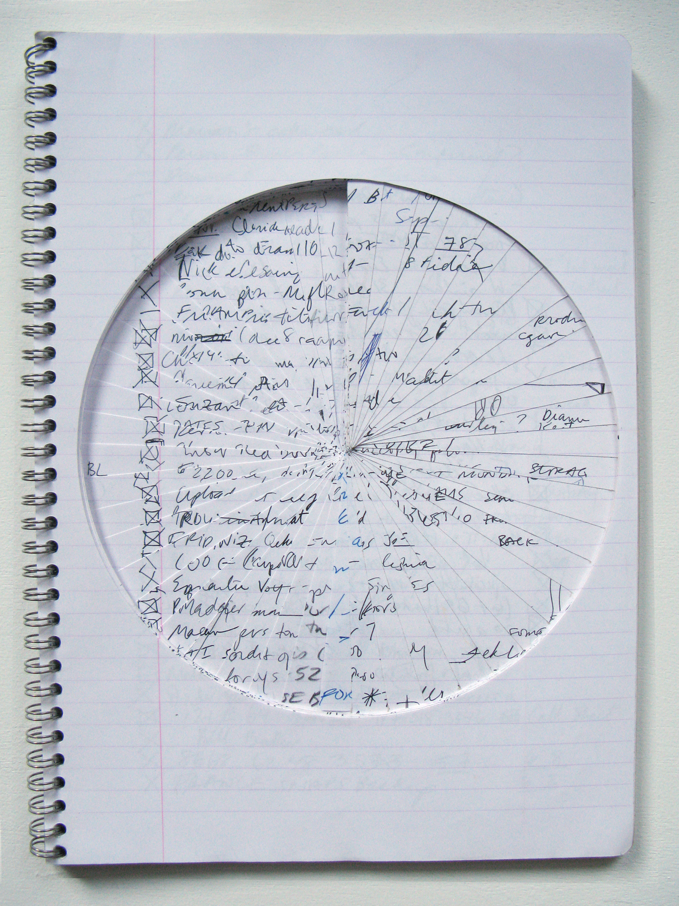 Pie Chart,  2014                 notebook, ink, pencil, marker    11 ½ x 8 ¼""