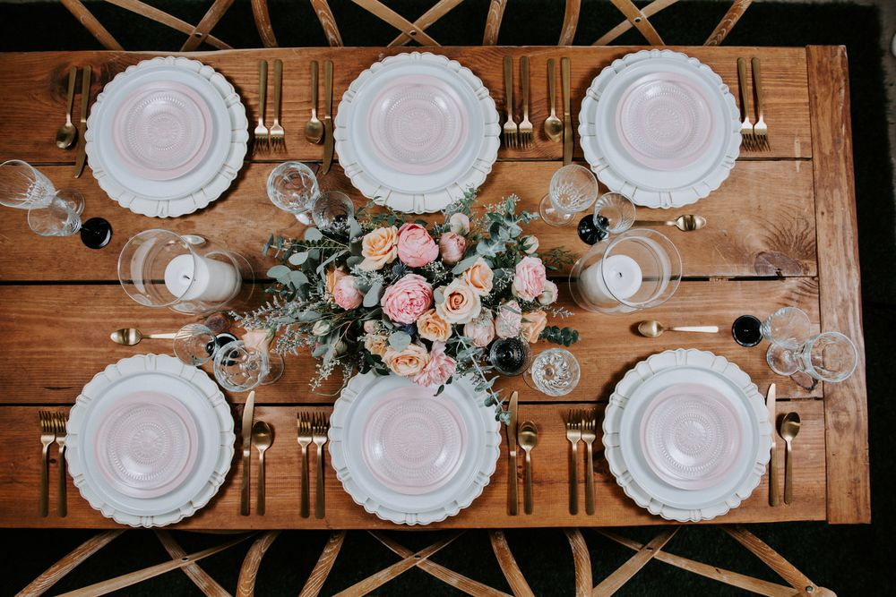 Romantic Wedding Centerpiece on Farm Tables
