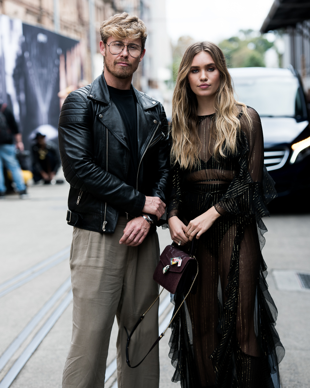 Max May @maxmade & Zoe Cross @crossandbone on their way to the Alice McCall show.