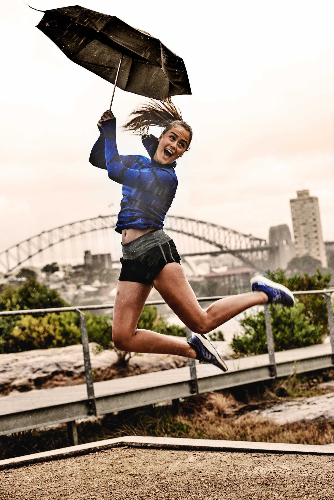 Campaign // Adidas Ultraboost X - Rain, hail or shine, (but mostly rain); Steph Claire Smith, Morgan Mitchell & Maddie Jade Coates for Adidas Australia Ultraboost X Social Campaign, PR Activation, Sydney & Melbourne. Photographs: Dave Blake, Agency: Mango Australia