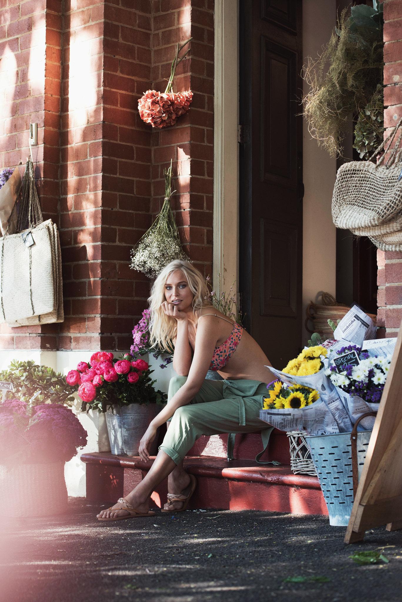 Bimby + Roy 'AW18 - Bimby + Roy AW18 Campaign; ft.Ekaterina Pokrovskaya. Photographs by Dave Blake. The Flower Bar, Bangalow, Australia.