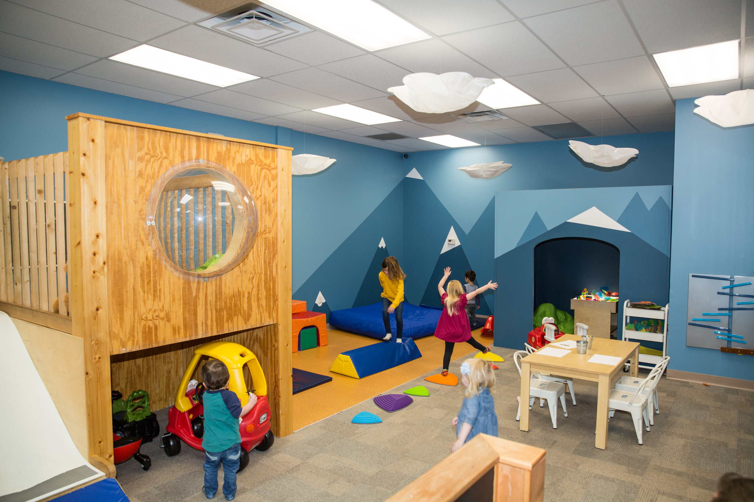 Large play area - A whimsical place for children to use their imagination, make new friends, and burn off extra energy .