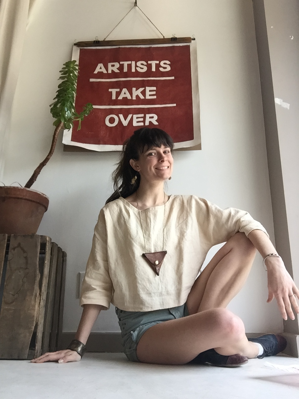 """This hemp-linen shirt was part of a recent batch of """"Me-Makes,"""" which actually are what inspired my  Make Your Own Crop-Top Workshop  that I'm teaching this month!"""