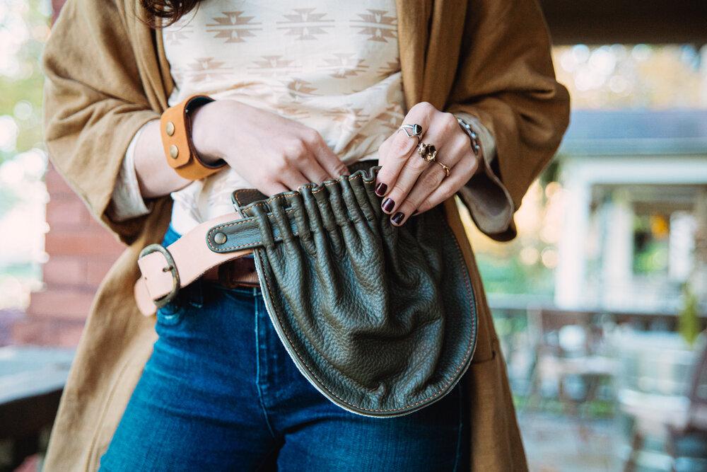 Belt bag John pattern green-lightgreen-dark belly pocket hip pocket