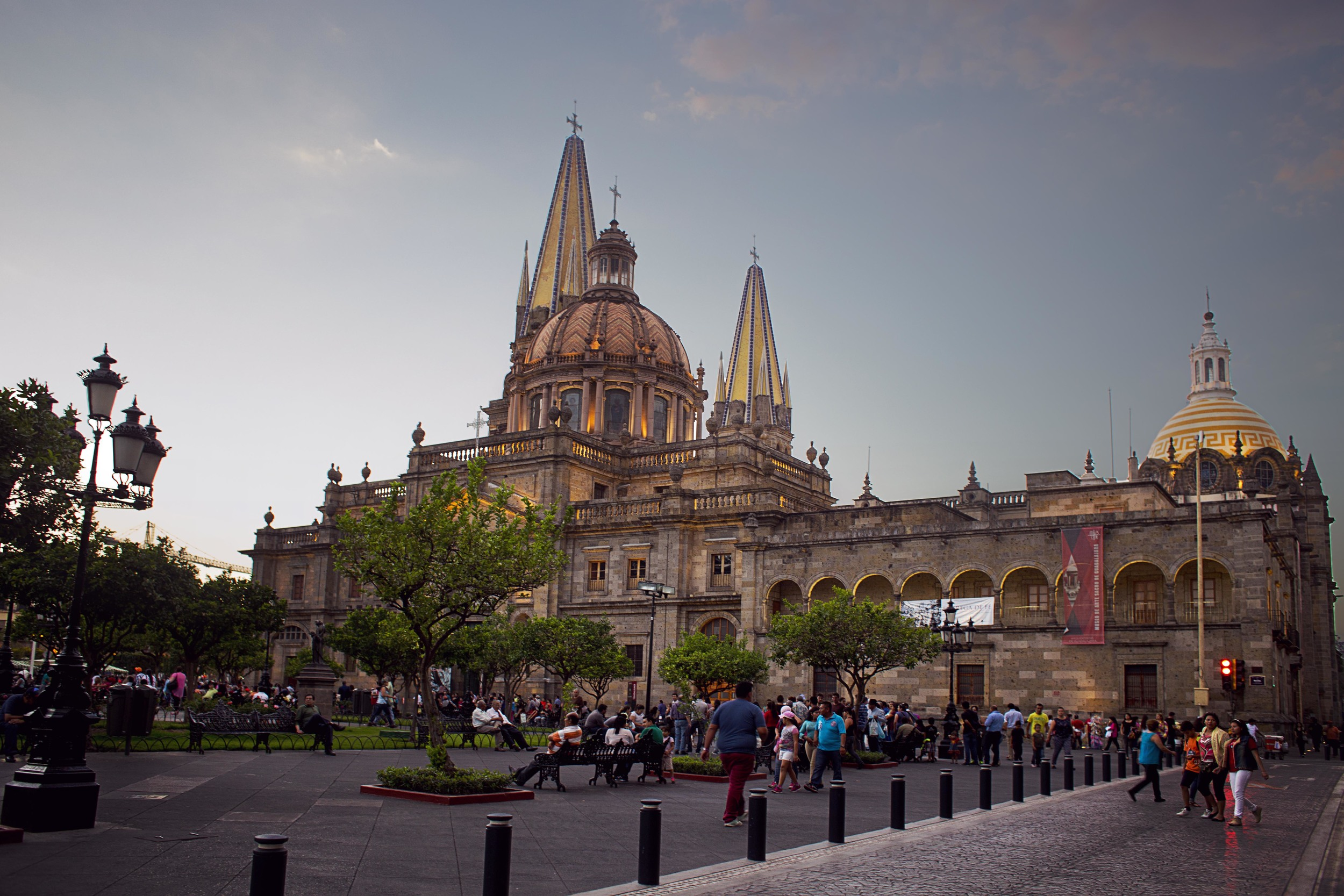 Day 60 - Guadalajara, Jalisco, Mexico    The Cathedral of Guadalajara, built in 1568.  In front of it is a plaza which gets filled with people every night with people of all ages and social classes. You can find street performers, street vendors selling from freshly cut pineapple with chili or sans chili, and toys for the kids to play with as the parents sit nearby.