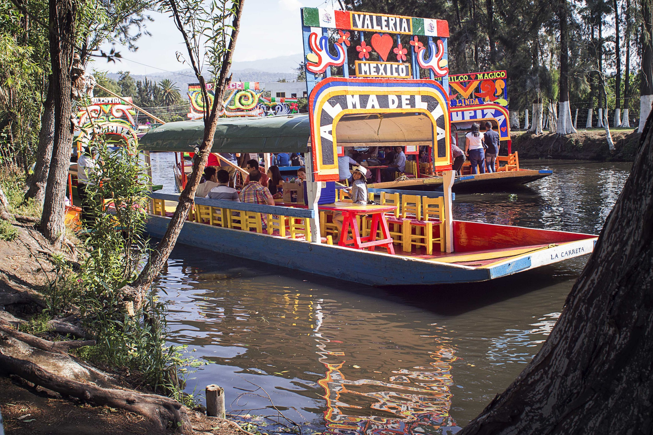 Day 85 - Xochimilco, Mexico   The Venice of Mexico.  Trajineras move around what is left of Lake Texoco where Tenochitlan and modern day Mexico City resides.  You can purchase food, beer, pulque, mariachi music, flowers and pretty much anything you can think of for a good party or romantic afternoon.