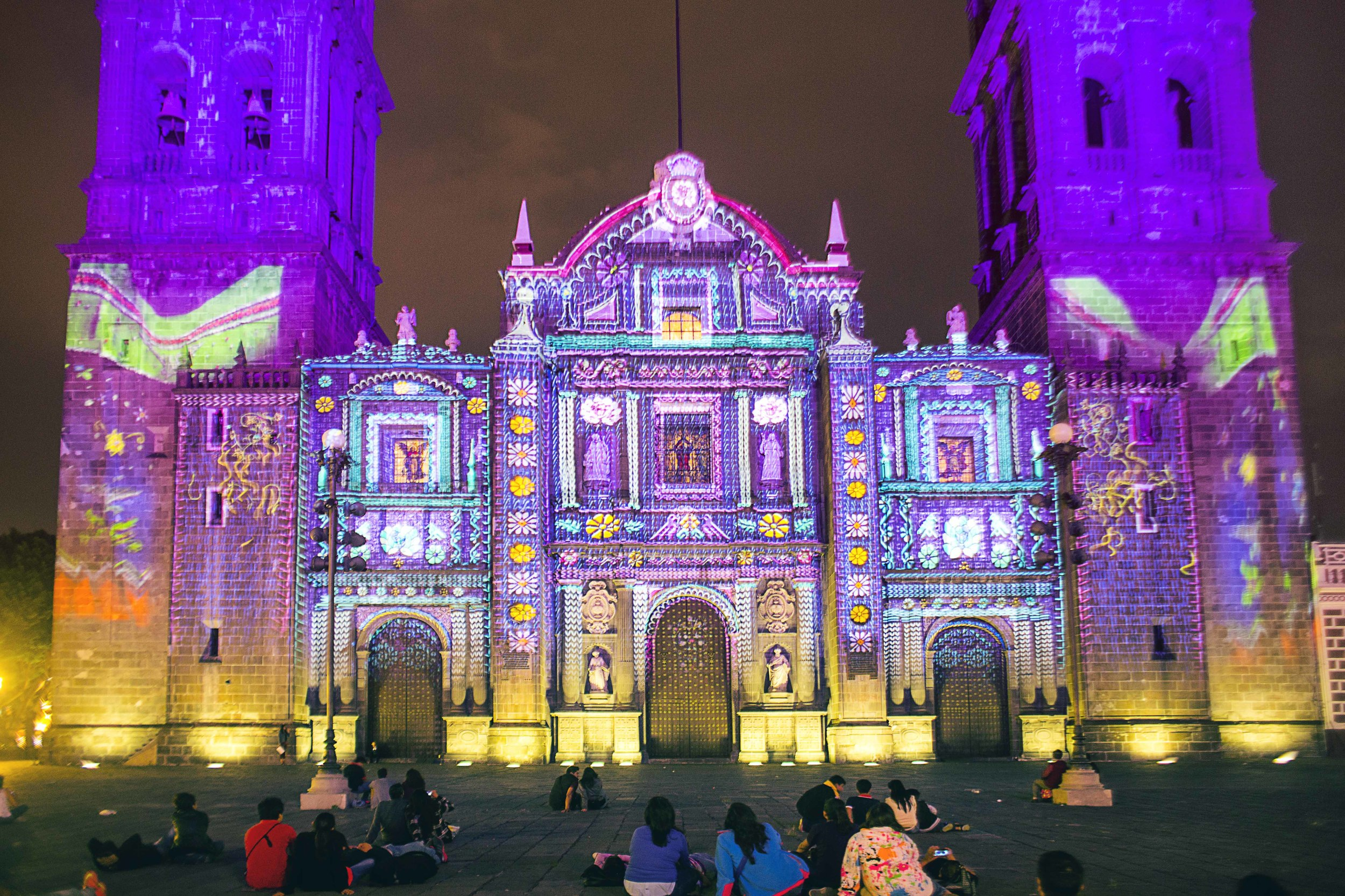 Day 97 - Puebla, Puebla, Mexico   May  1, 2015   A special presentation was projected on Puebla's main cathedral displaying Puebla's history, Talavera and other festive images to prepare for the upcoming  Cinco de Mayo celebrations that will continue for the whole month of May.