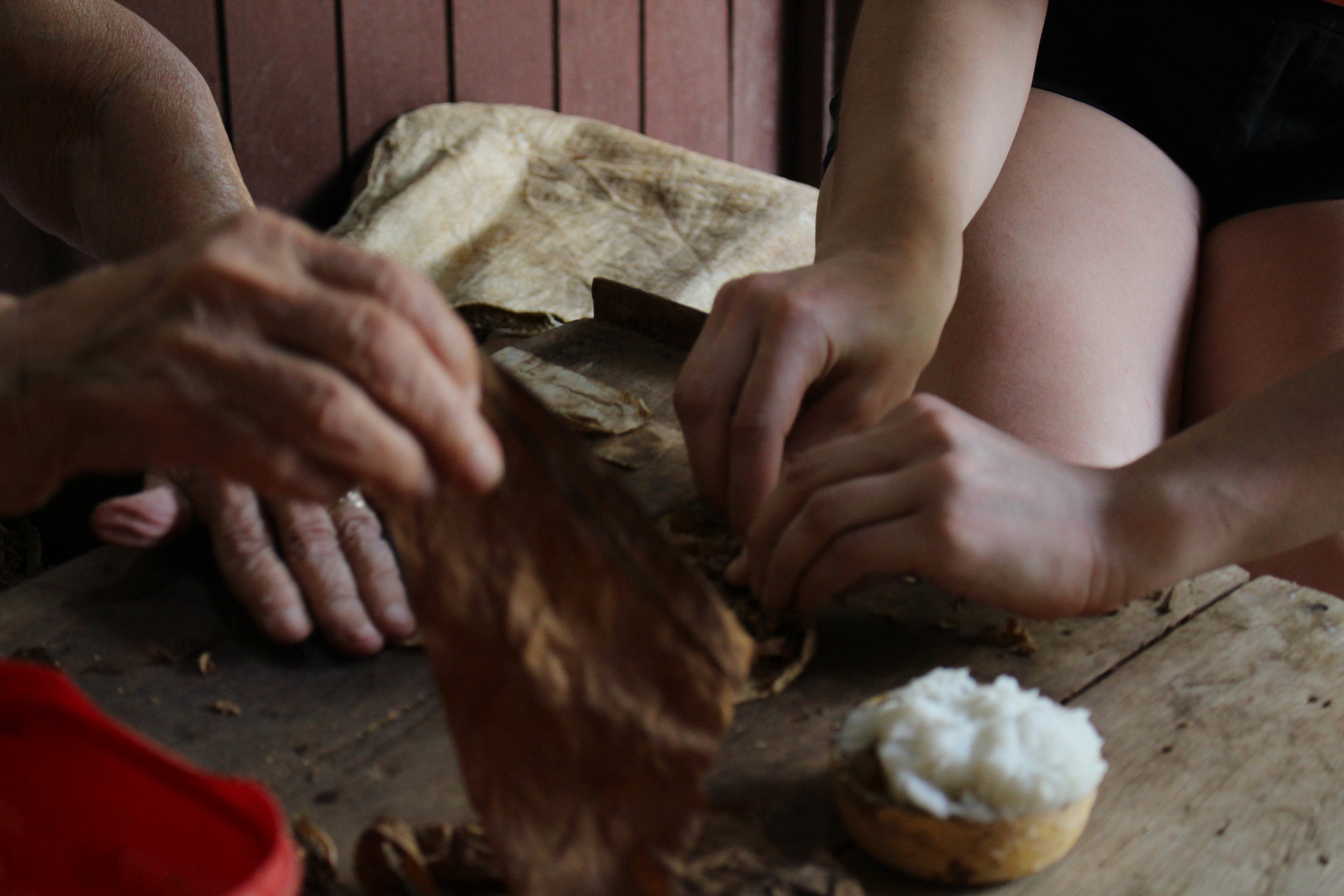 Senorita teaching me how to roll cigars, with her 70 + years of experience.