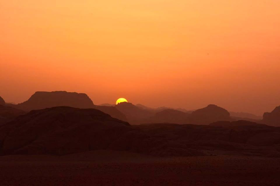 Sunset in Wadi Rum, Jordan; photo by Yosra Mustafa
