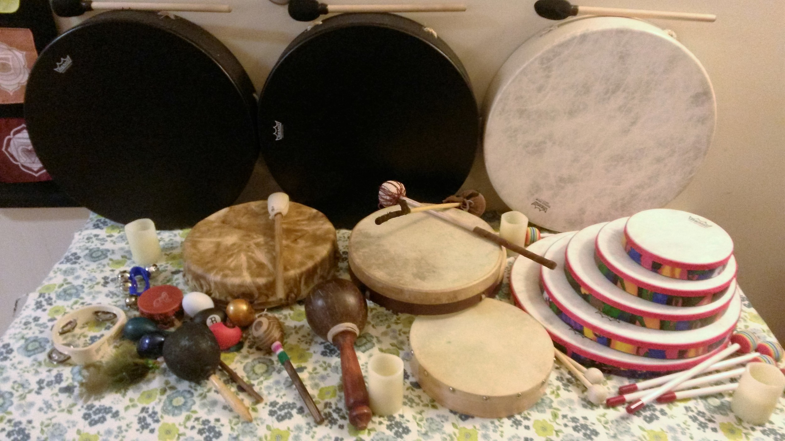 Don't have a drum or rattle? No worries! We have spares you can borrow for the evening.