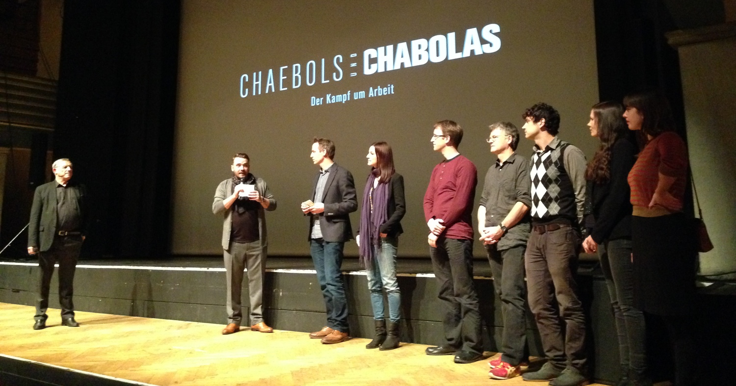 David Syz and Christian Neu presenting the crew at the preview at the Volkshaus in Zurich.
