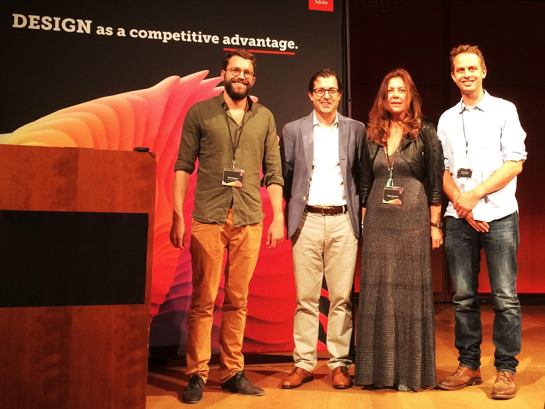 Robin Burgauer, Head of Creation DOCMINE; Nick Bogaty, Head of Digital Publishing Adobe; Regina Maréchal, Head of Corporate Publishing SWISS, Patrick M. Müller, Managing Director DOCMINE