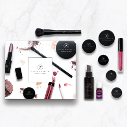 Premium Starter Kit with Savvy Minerals:  A foundation of your choice, blush, three eye-shadows, lip gloss, misting spray, foundation brush, lavender essential oil, and booklets.