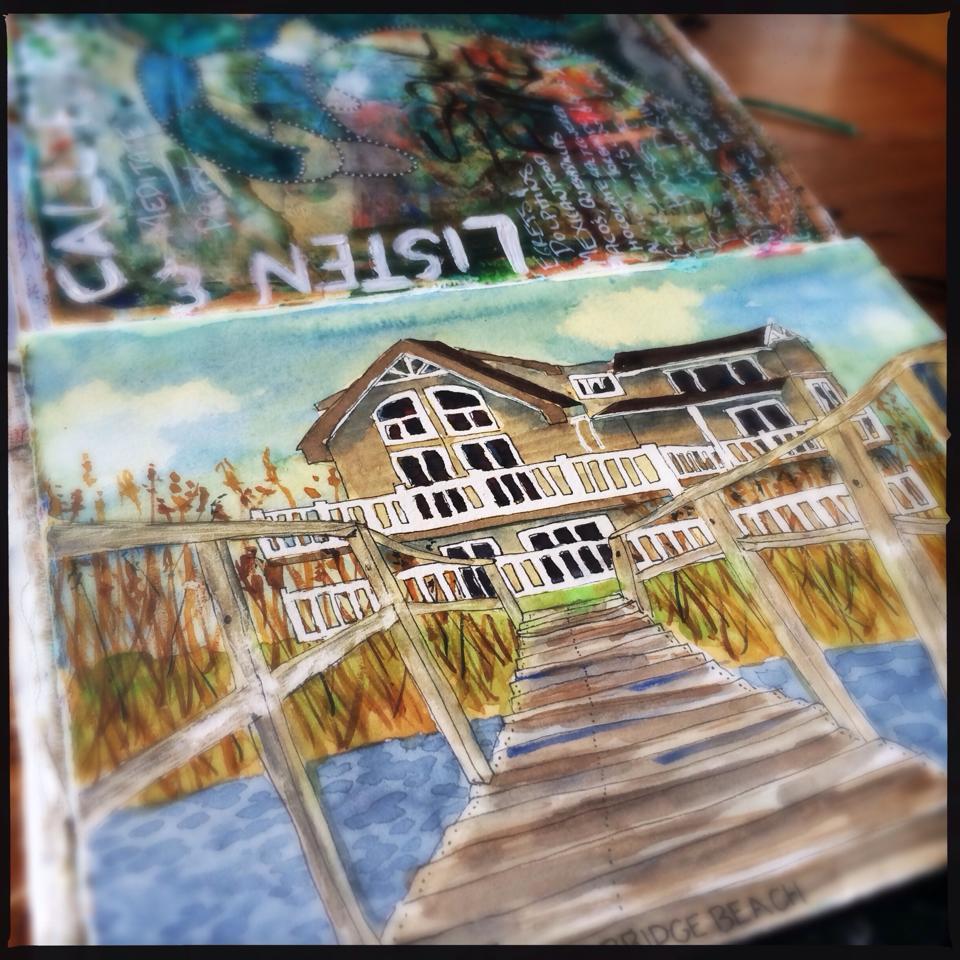 Virginia Beach House sketching in water colour - Galia Alena