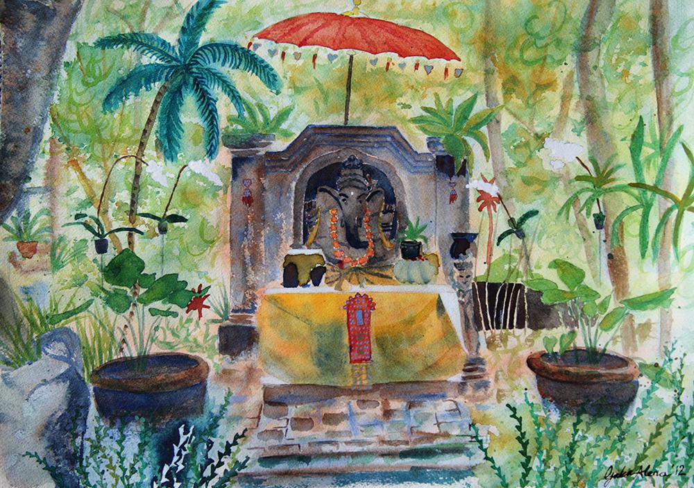 Ganesh altar, Bali, visual journal - Galia Alena