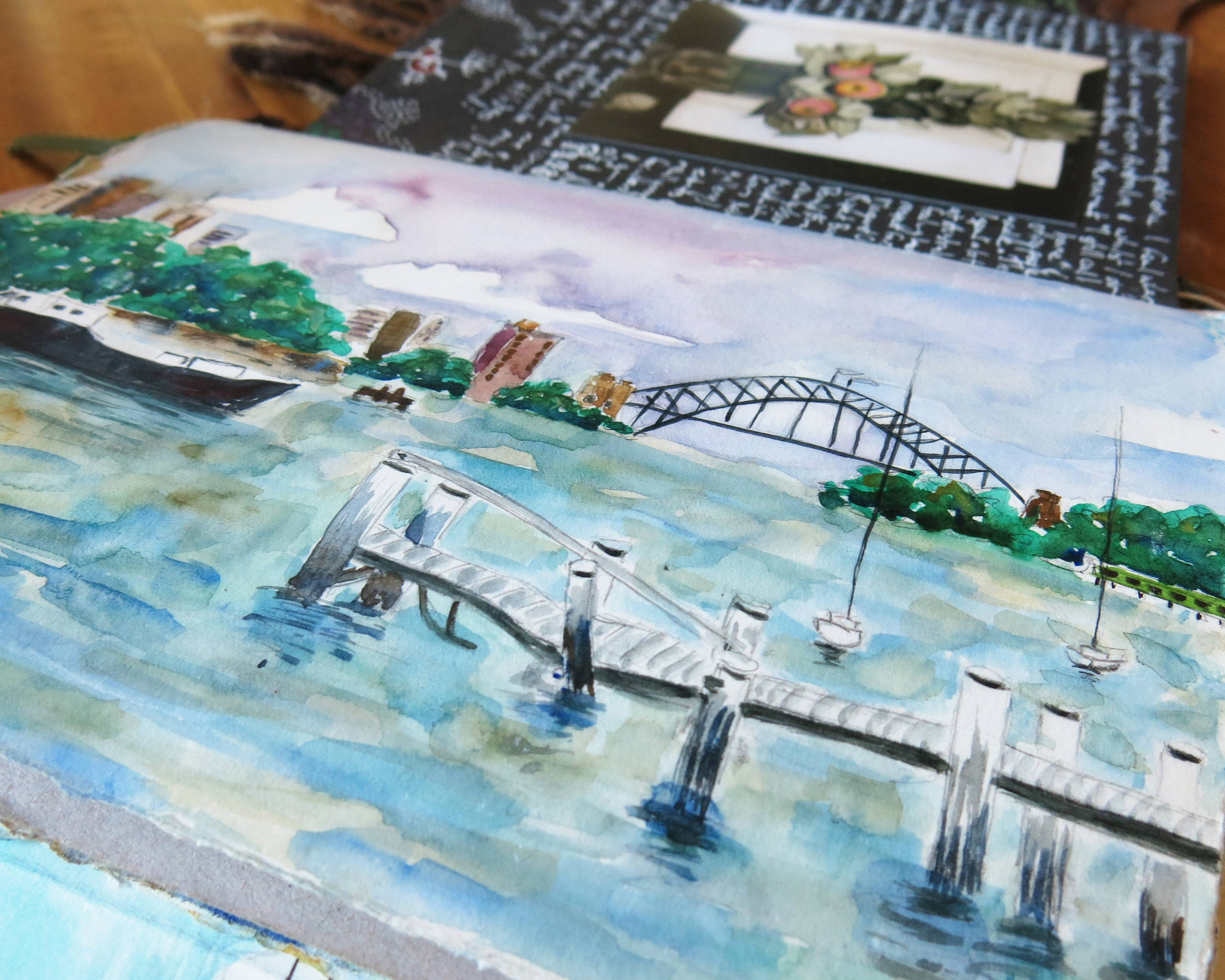 Sydney Harbour- water colour sketch in travel journal - Galia Alena