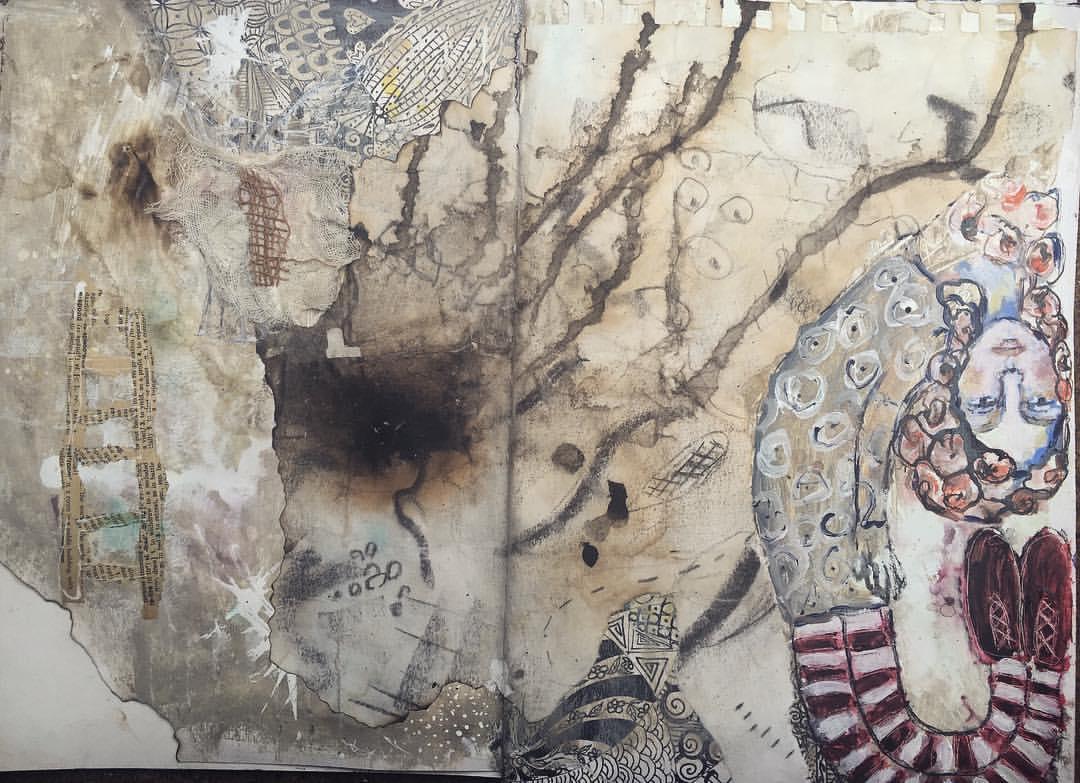 Pippi Longstockings art journal spread Galia Alena
