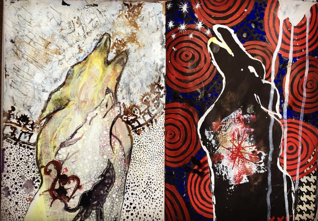 Wolves art journal spread Galia Alena