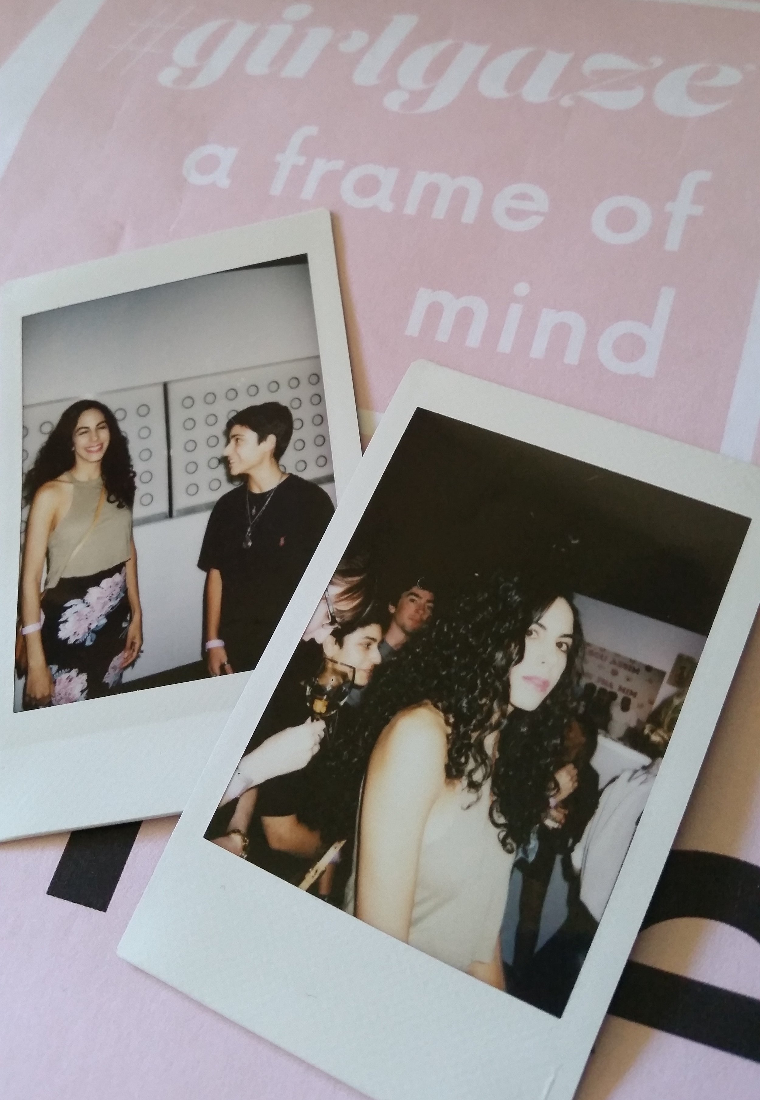 Artist Elyn Kazarian and I at the show. Polaroids by Sabrina Che.