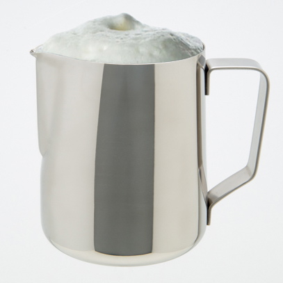 Stainless steel milk frothing pitcher with foam froth.jpg